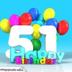 Geburtstagskarte mit Glückwünsch zum 51. Geburtstag