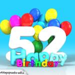 Geburtstagskarte mit Glückwünsch zum 52. Geburtstag