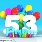 Geburtstagskarte mit Glückwünsch zum 53. Geburtstag
