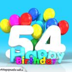 Geburtstagskarte mit Glückwünsch zum 54. Geburtstag