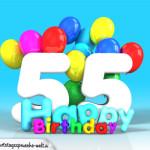 Geburtstagskarte mit Glückwünsch zum 55. Geburtstag