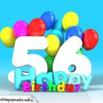 Geburtstagskarte mit Glückwünsch zum 56. Geburtstag