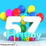 Geburtstagskarte mit Glückwünsch zum 57. Geburtstag
