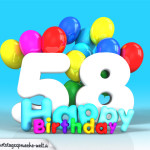 Geburtstagskarte mit Glückwünsch zum 58. Geburtstag
