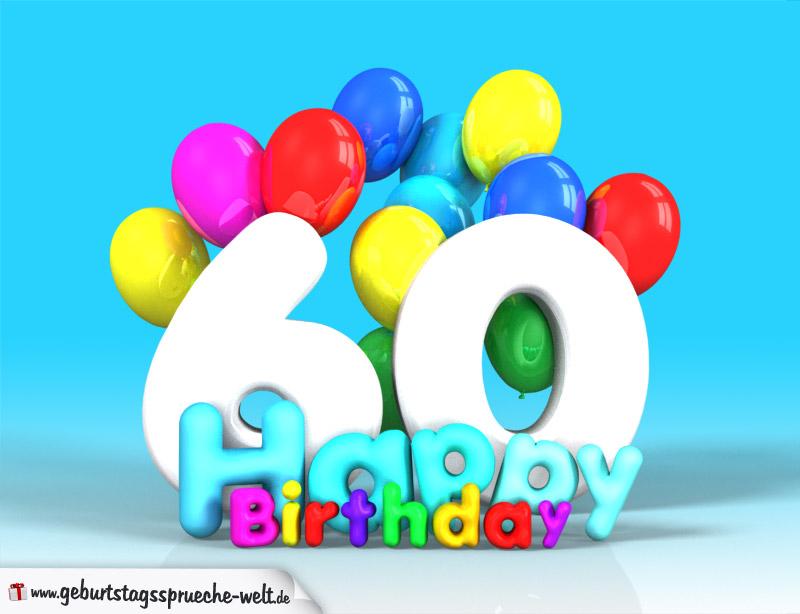 60. geburtstag bild happy birthday mit ballons