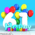 Geburtstagskarte mit Glückwünsch zum 61. Geburtstag