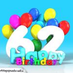 Geburtstagskarte mit Glückwünsch zum 62. Geburtstag