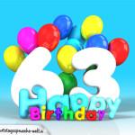 Geburtstagskarte mit Glückwünsch zum 63. Geburtstag