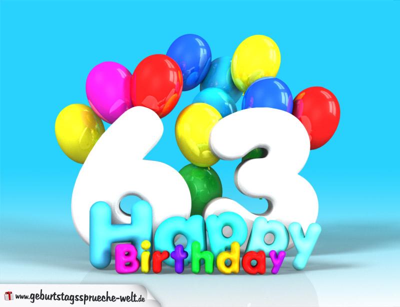 63 geburtstag bild happy birthday mit ballons geburtstagsspr che welt. Black Bedroom Furniture Sets. Home Design Ideas