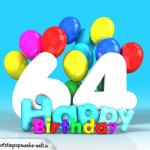 Geburtstagskarte mit Glückwünsch zum 64. Geburtstag