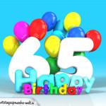 Geburtstagskarte mit Glückwünsch zum 65. Geburtstag