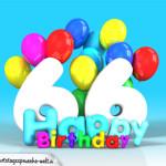 Geburtstagskarte mit Glückwünsch zum 66. Geburtstag