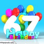 Geburtstagskarte mit Glückwünsch zum 67. Geburtstag