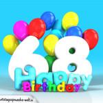 Geburtstagskarte mit Glückwünsch zum 68. Geburtstag