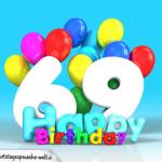 Geburtstagskarte mit Glückwünsch zum 69. Geburtstag