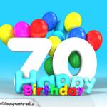 Geburtstagskarte mit Glückwünsch zum 70. Geburtstag