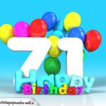 Geburtstagskarte mit Glückwünsch zum 71. Geburtstag