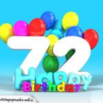 Geburtstagskarte mit Glückwünsch zum 72. Geburtstag