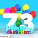 Geburtstagskarte mit Glückwünsch zum 73. Geburtstag