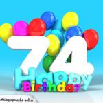 Geburtstagskarte mit Glückwünsch zum 74. Geburtstag