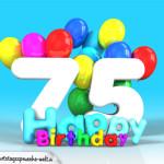 Geburtstagskarte mit Glückwünsch zum 75. Geburtstag