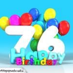 Geburtstagskarte mit Glückwünsch zum 76. Geburtstag