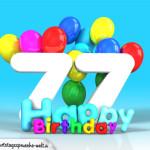 Geburtstagskarte mit Glückwünsch zum 77. Geburtstag