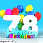 Geburtstagskarte mit Glückwünsch zum 78. Geburtstag