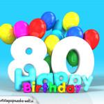 Geburtstagskarte mit Glückwünsch zum 80. Geburtstag