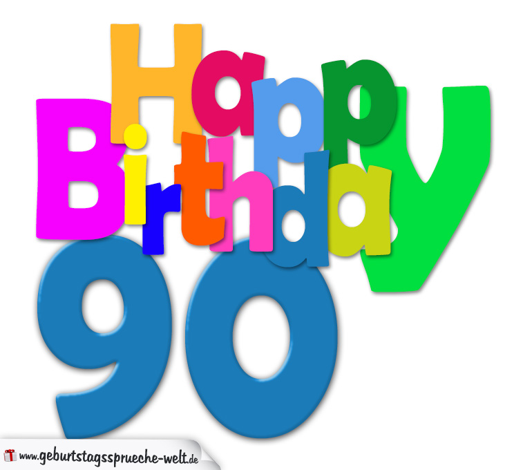 90 geburtstag happy birthday geburtstagskarte mit