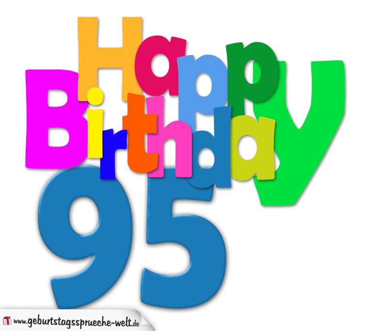 95 Geburtstag Happy Birthday Geburtstagskarte Mit Bunten
