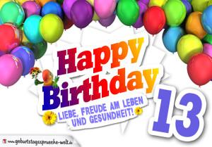 Bunte Geburtstagskarte mit Ballons zum 13. Geburtstag