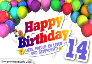 Bunte Geburtstagskarte mit Ballons zum 14. Geburtstag
