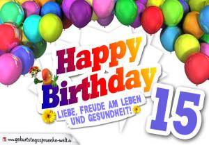 Bunte Geburtstagskarte mit Ballons zum 15. Geburtstag