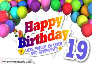 Bunte Geburtstagskarte mit Ballons zum 19. Geburtstag