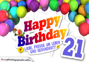 Bunte Geburtstagskarte mit Ballons zum 21. Geburtstag