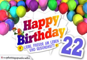 Bunte Geburtstagskarte mit Ballons zum 22. Geburtstag
