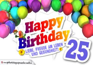 Bunte Geburtstagskarte mit Ballons zum 25. Geburtstag