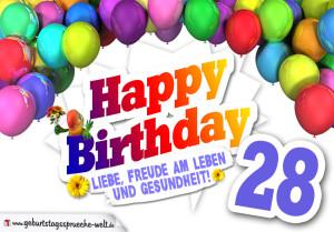 Bunte Geburtstagskarte mit Ballons zum 28. Geburtstag