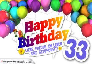 Bunte Geburtstagskarte mit Ballons zum 33. Geburtstag