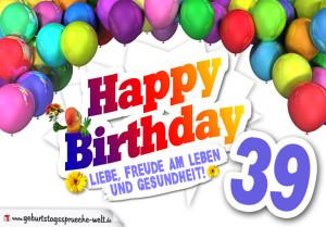 Bunte Geburtstagskarte mit Ballons zum 39. Geburtstag