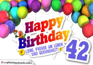 Bunte Geburtstagskarte mit Ballons zum 42. Geburtstag