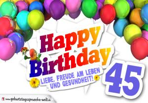 Bunte Geburtstagskarte mit Ballons zum 45. Geburtstag