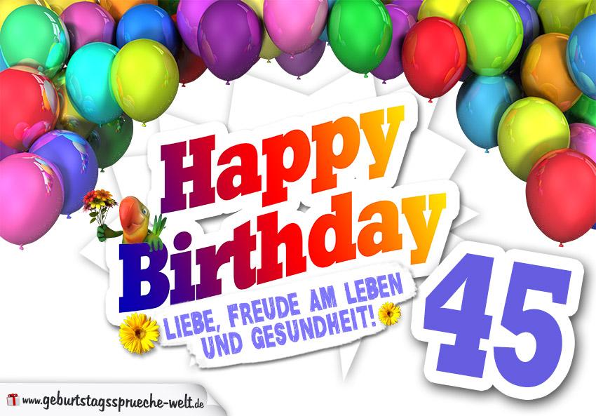 Bunte Geburtstagskarte Mit Ballons Zum 45 Geburtstag