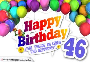 Bunte Geburtstagskarte mit Ballons zum 46. Geburtstag