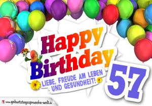 Bunte Geburtstagskarte mit Ballons zum 57. Geburtstag