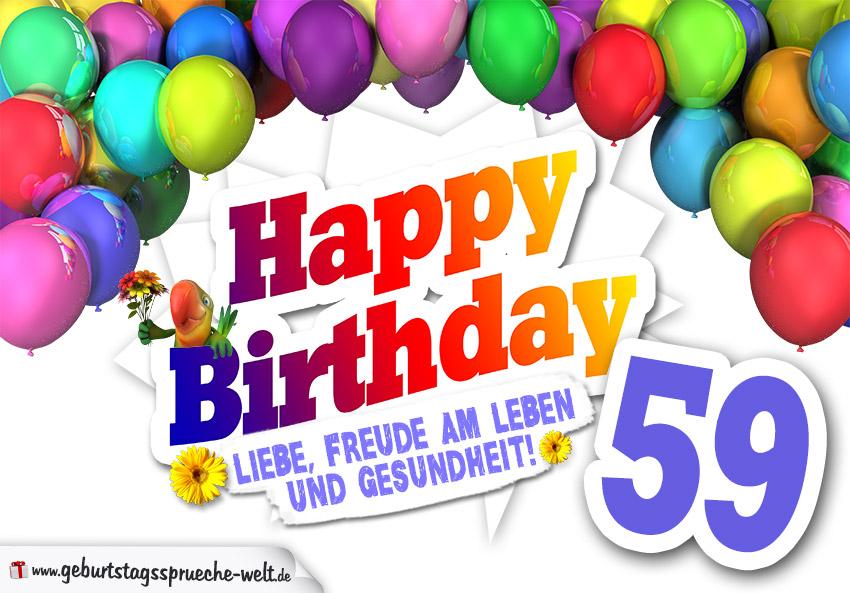 Bunte geburtstagskarte mit ballons zum 59 geburtstag geburtstagsspr che welt - Geburtstagsbilder zum 25 ...