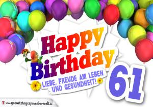 Bunte Geburtstagskarte mit Ballons zum 61. Geburtstag