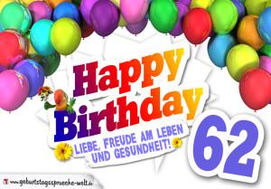 Bunte Geburtstagskarte mit Ballons zum 62. Geburtstag