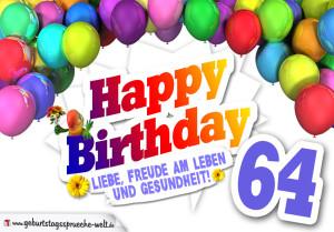 Bunte Geburtstagskarte mit Ballons zum 64. Geburtstag